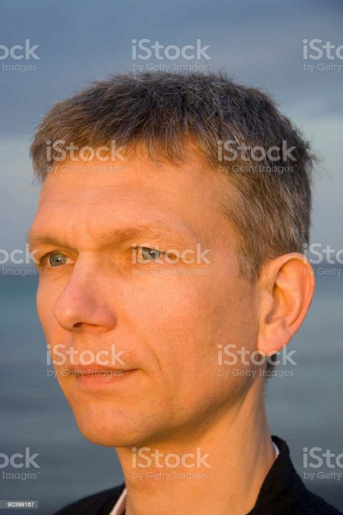 portrait of a man practicing tai chi stock photo