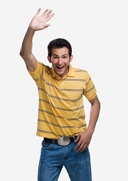 Excited Asian Man Waving Hello Stock Photos, Pictures ...