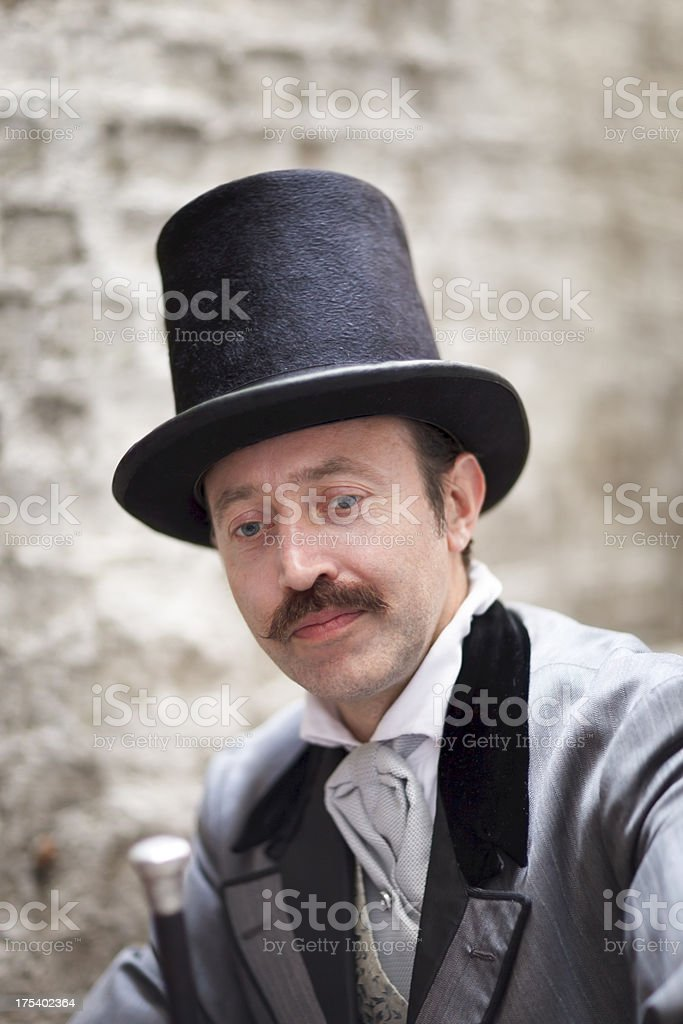 Portrait of a man wearing victorian style clothes. royalty-free stock photo