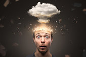 istock Portrait of a man with an exploding mind 1223565803