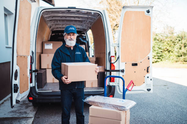 portrait of a man with delivery package - postal worker стоковые фото и изображения