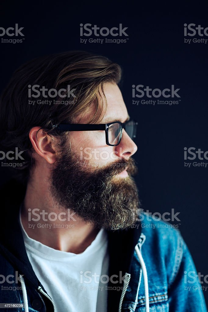 Portrait of a Man with full beard and Glasses royalty-free stock photo