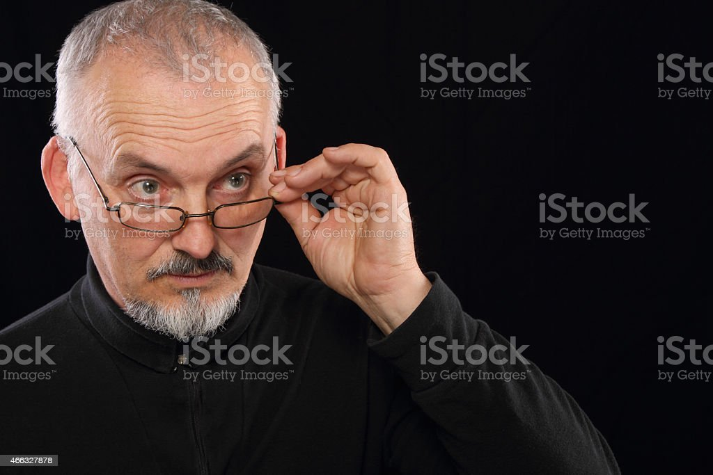 Portrait of a man with glasses stock photo