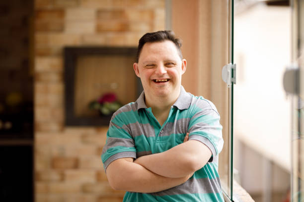 Portrait of a man with special needs stock photo
