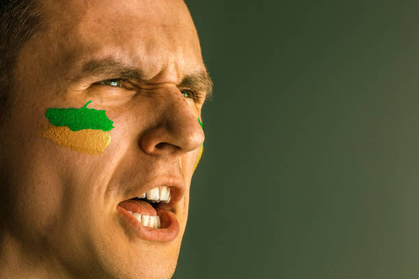 portrait of a man with the flag of the brazil painted on him face - soccer supporter portrait imagens e fotografias de stock