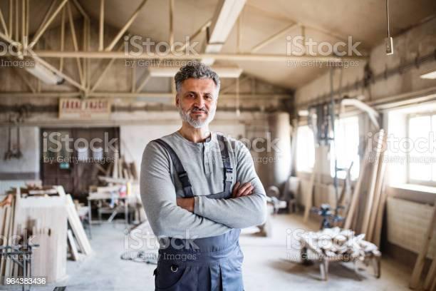 Foto de Retrato De Um Trabalhador Homem Na Oficina De Carpintaria e mais fotos de stock de Adulto