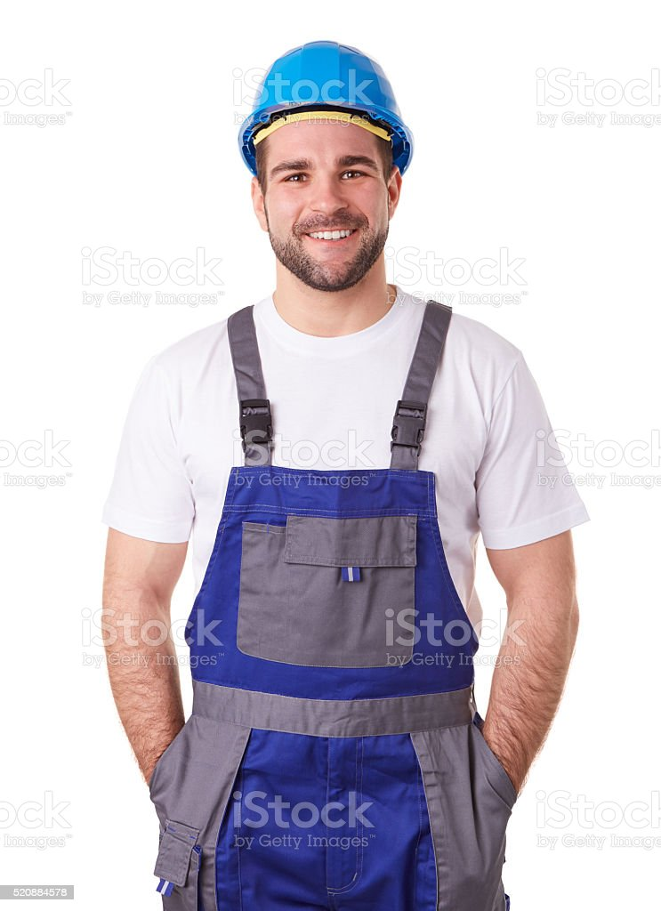 Portrait of a manual worker stock photo