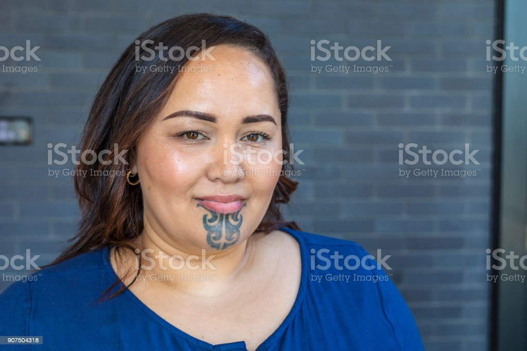 Portrait of a Maori Woman With a Face Tattoo or Moko stock photo