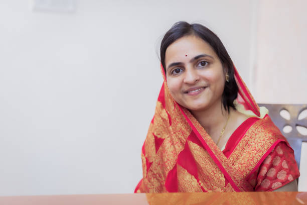 Portrait of a Married Indian Woman stock photo