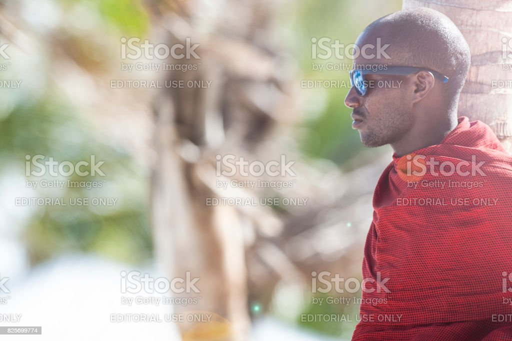 Portrait of a Masai in a village in Kenya stock photo