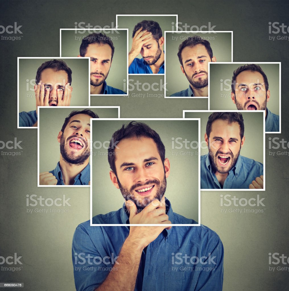 Portrait of a masked young happy man stock photo