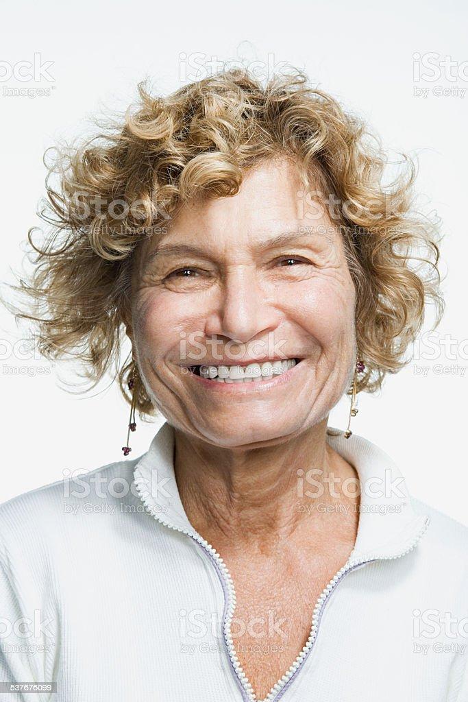 Portrait of a mature adult woman stock photo
