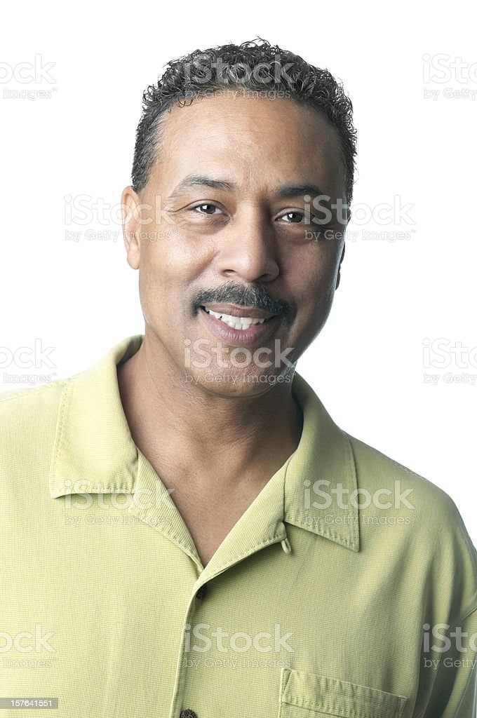 Portrait  of  a Mature African American Man Isolated on White stock photo