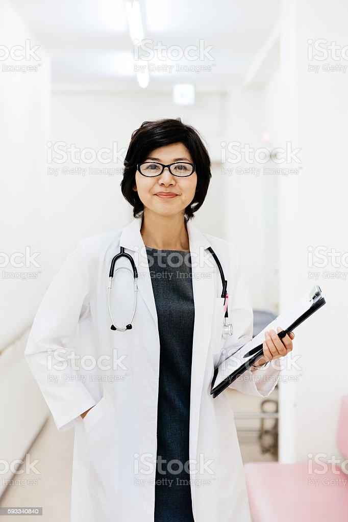 Portrait of a mature female japanese doctor stock photo