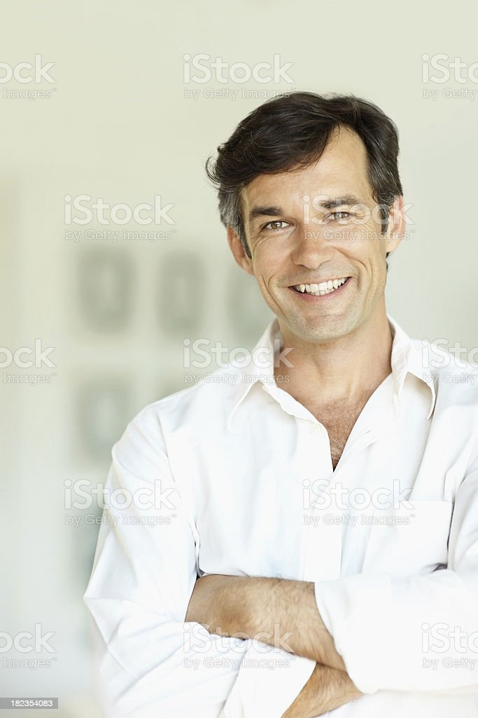 Portrait of a mature man smiling royalty-free stock photo