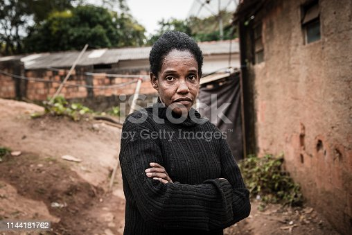 Portrait of a mature brazilian woman in her neighborhood