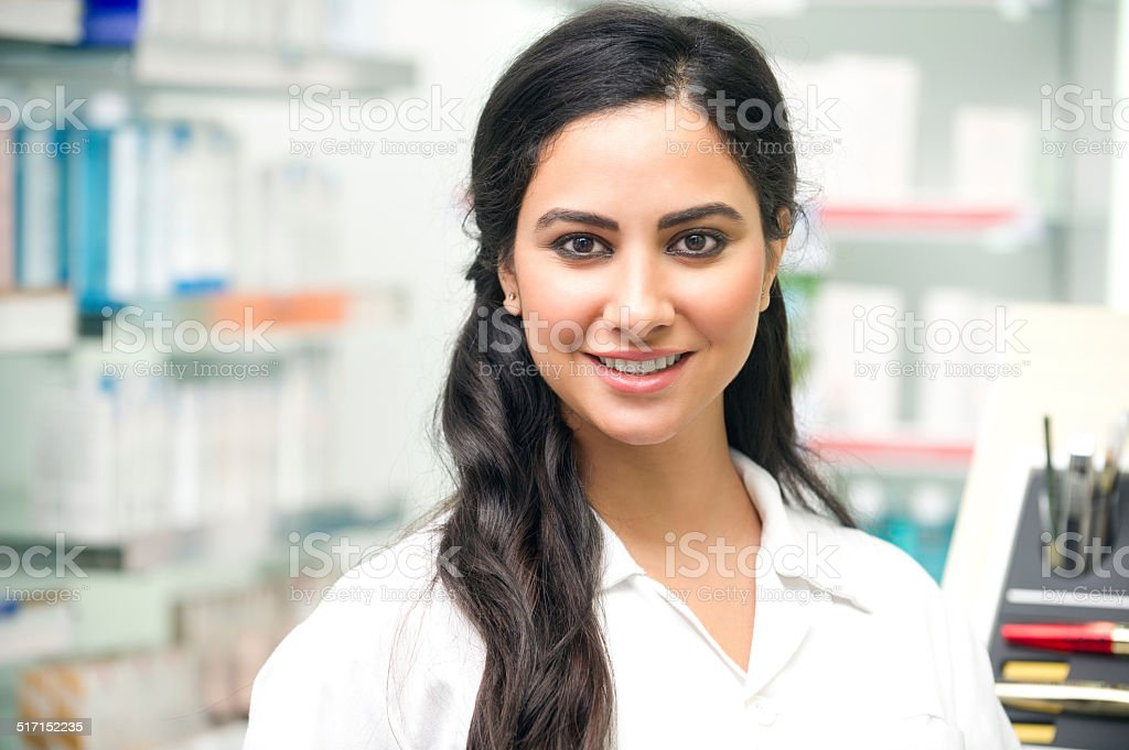 Portrait of a medical personnel, or doctor in pharmacy stock photo