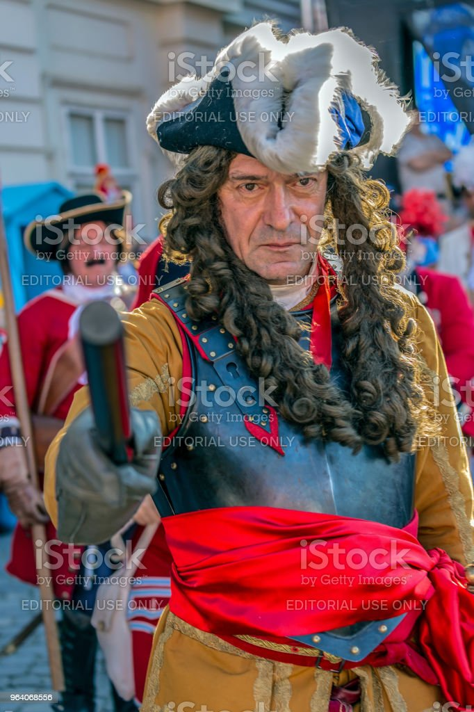 Portrait of a medieval military commander that marching on the street - Royalty-free Adult Stock Photo
