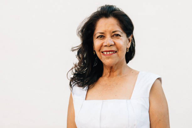 Portrait of a Mexican Senior woman stock photo