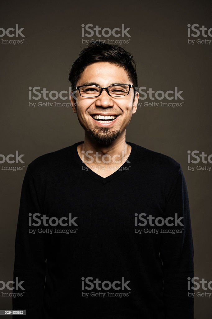 Portrait of a mid adult japanese man stock photo