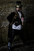 istock Portrait of a middle aged man in Steampunk  costume 477900816