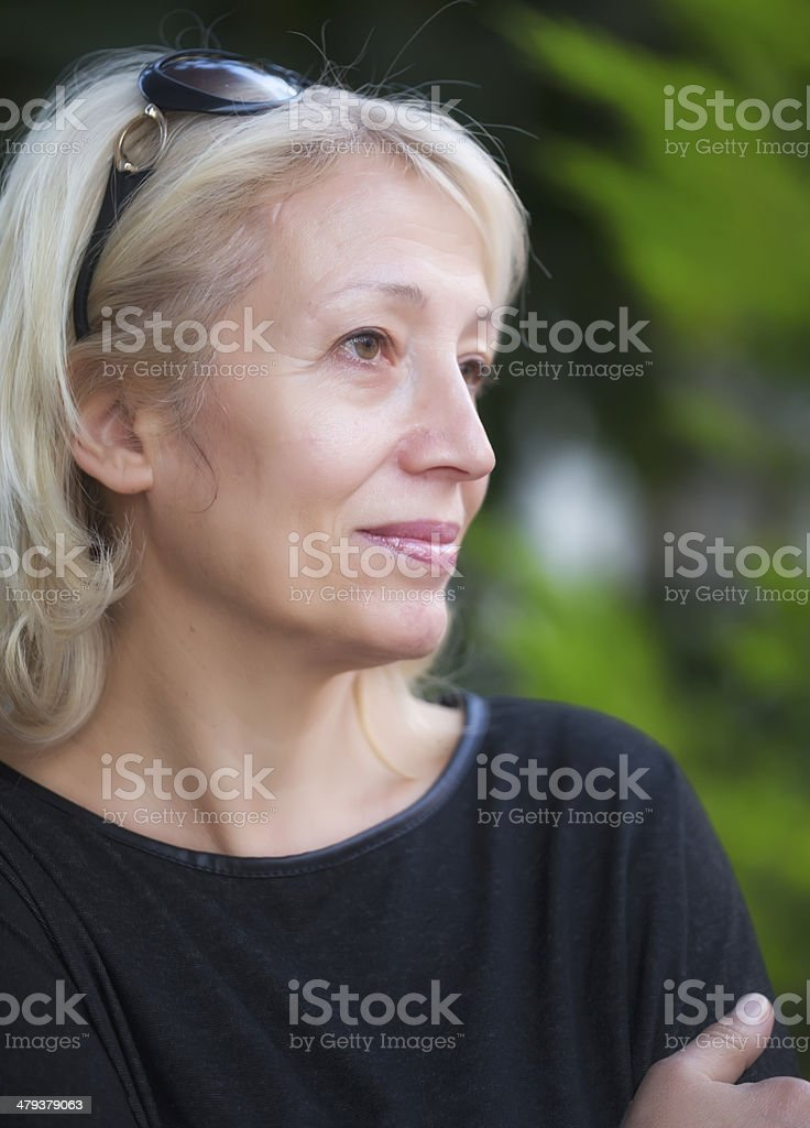 Portrait of a middle aged woman royalty-free stock photo