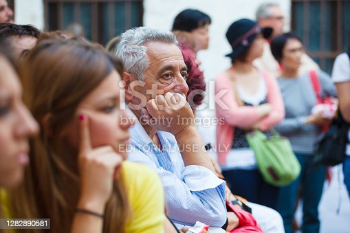 Venice, Italy - June, 02: Portrait of a middle-aged man listens carefully the presentation during the Venice Biennale vernissage on June 02, 2011
