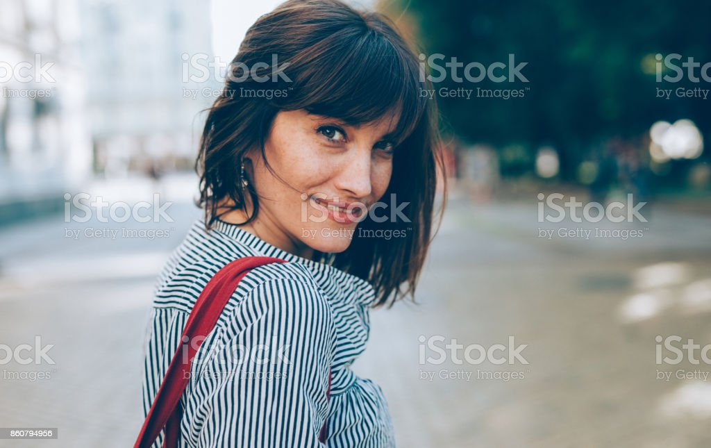 Portrait of a middle-aged woman stock photo