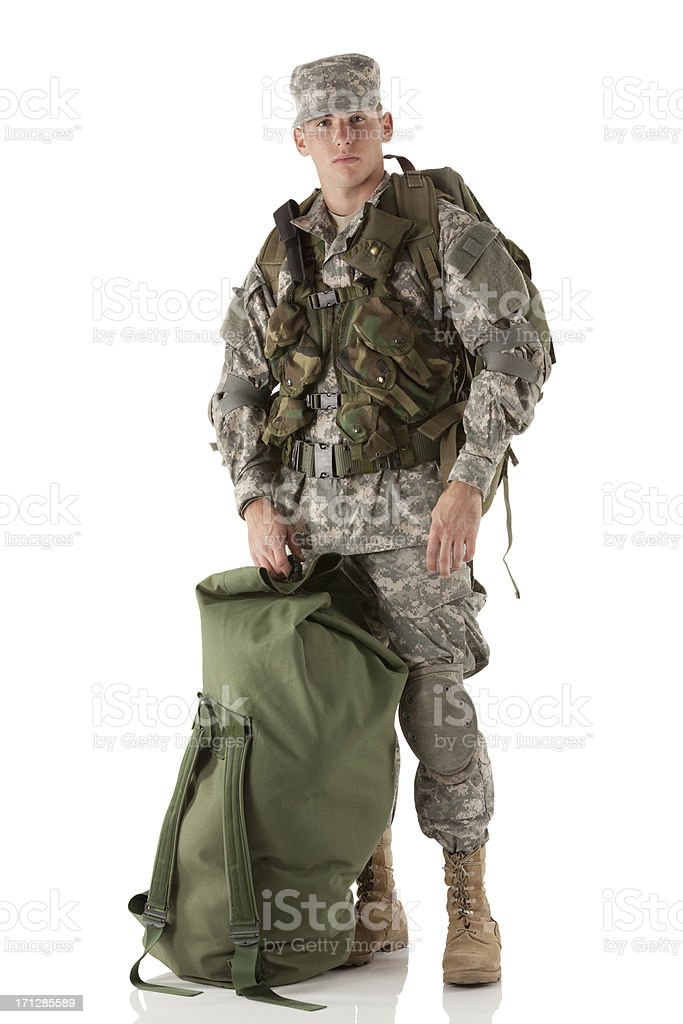 Portrait of a military man with luggage royalty-free stock photo