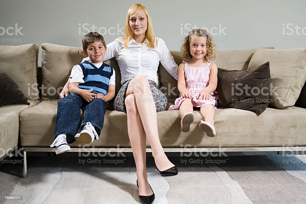 Portrait of a mother and her children 免版稅 stock photo
