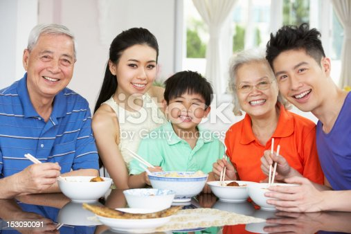 Portrait Of Multi-Generation Chinese Family Eating Meal Together Smiling To Camera