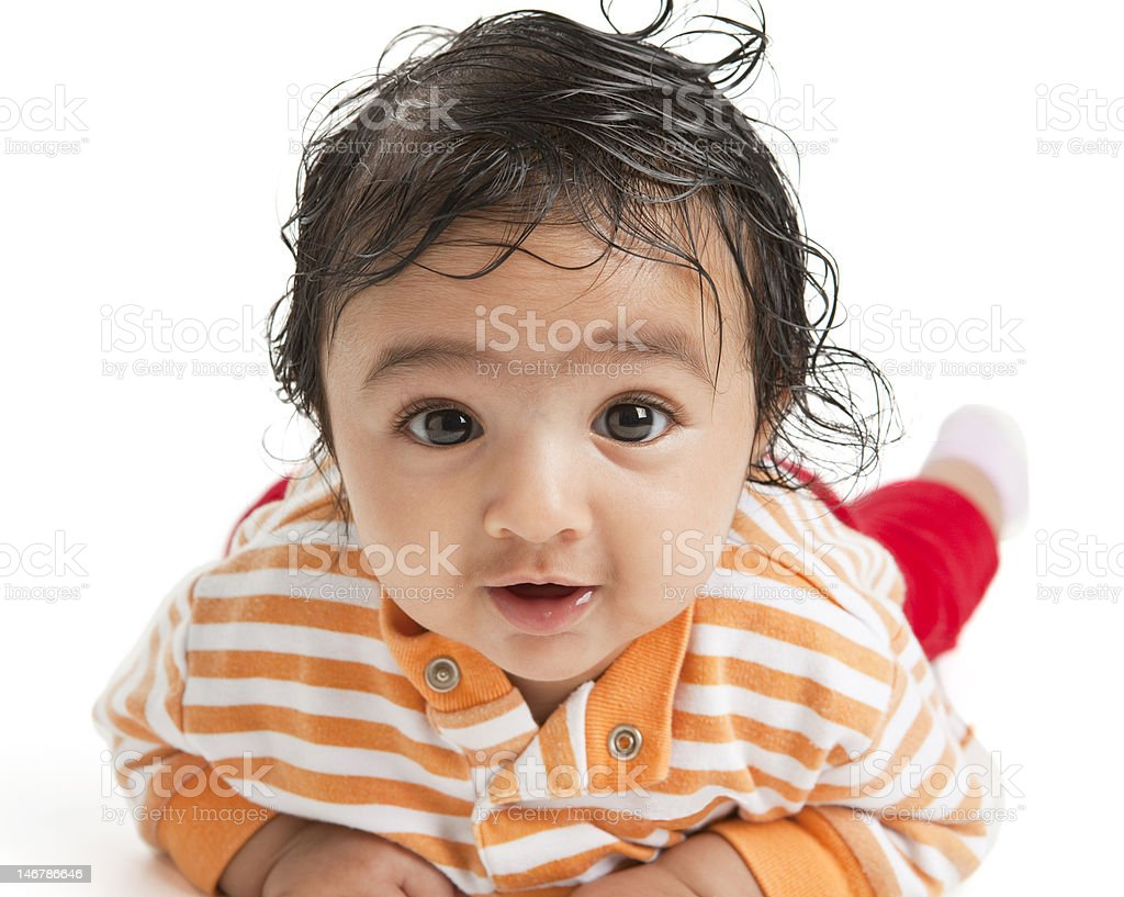 Portrait of a Newborn Baby Girl on White Background stock photo
