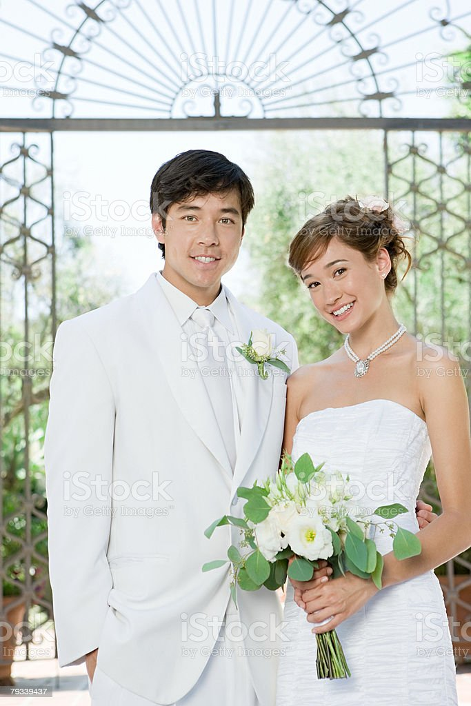 Portrait of a newlywed couple 免版稅 stock photo