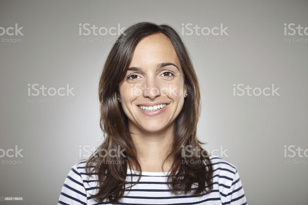 Portrait of a normal girl smiling stock photo