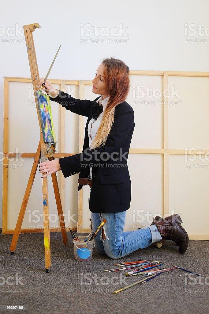 Portrait of a painter stock photo