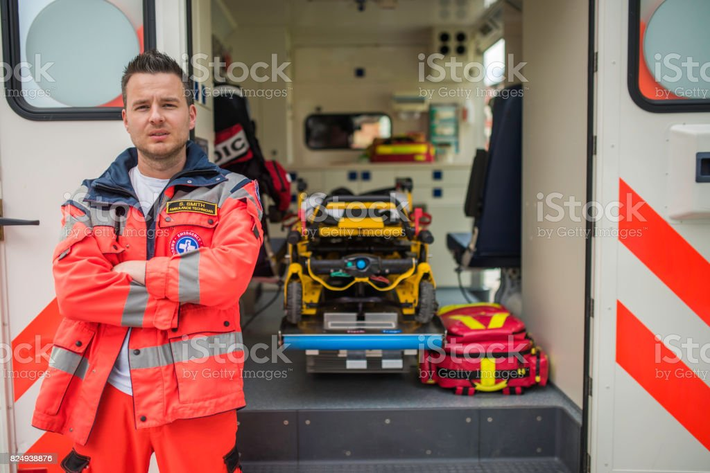 Portrait of a paramedic stock photo