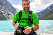 Portrait of a Photographer at Lake Louise in Banff National Park, Canada