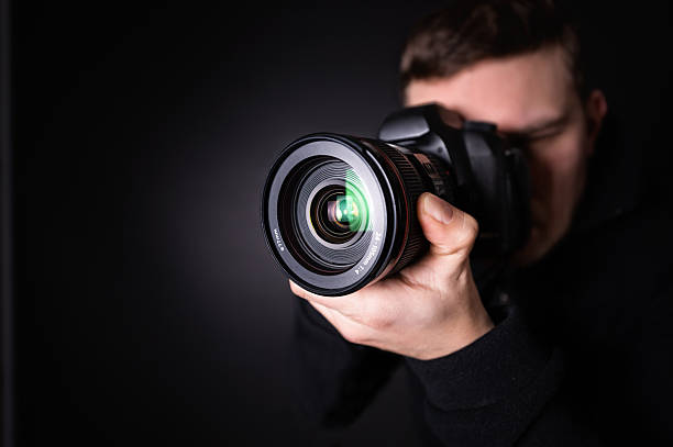 Portrait of a photographer stock photo