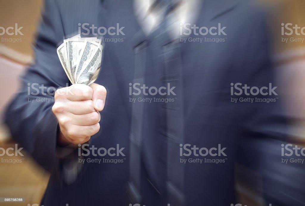 Portrait of a politician, bribery and corruption concept. stock photo
