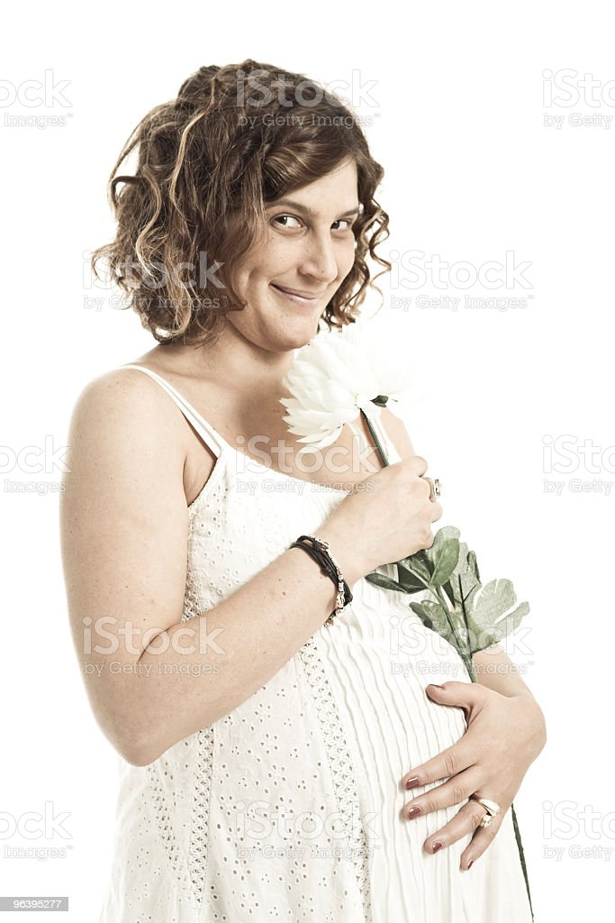Portrait Of A Pregnant Young Adult Woman Eyes Closed Isolated - Royalty-free 30-34 Years Stock Photo