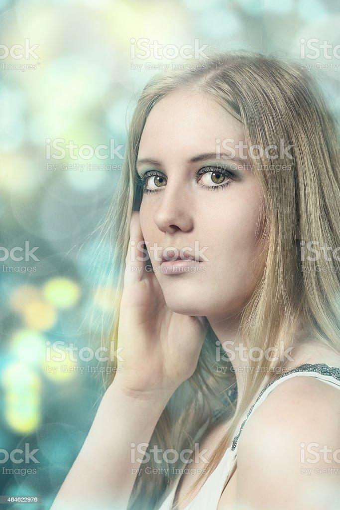 Portrait of a pretty blond woman stock photo