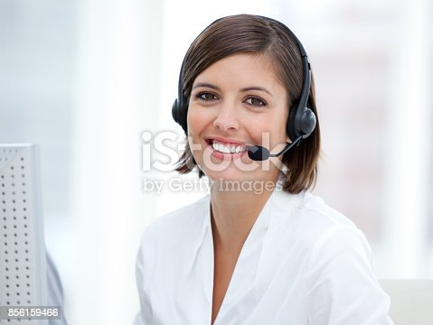 istock Portrait of a pretty customer agent at work 856159466