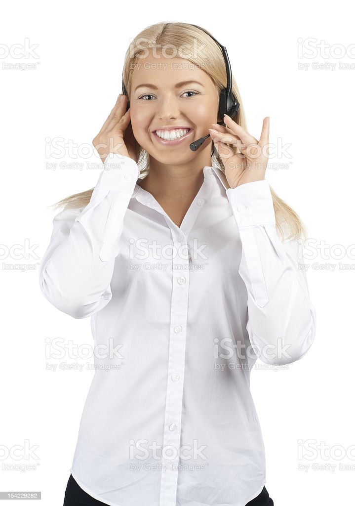 Portrait of a pretty female call center employee royalty-free stock photo