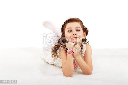 istock Portrait of a pretty little fun fashion girl 479408428