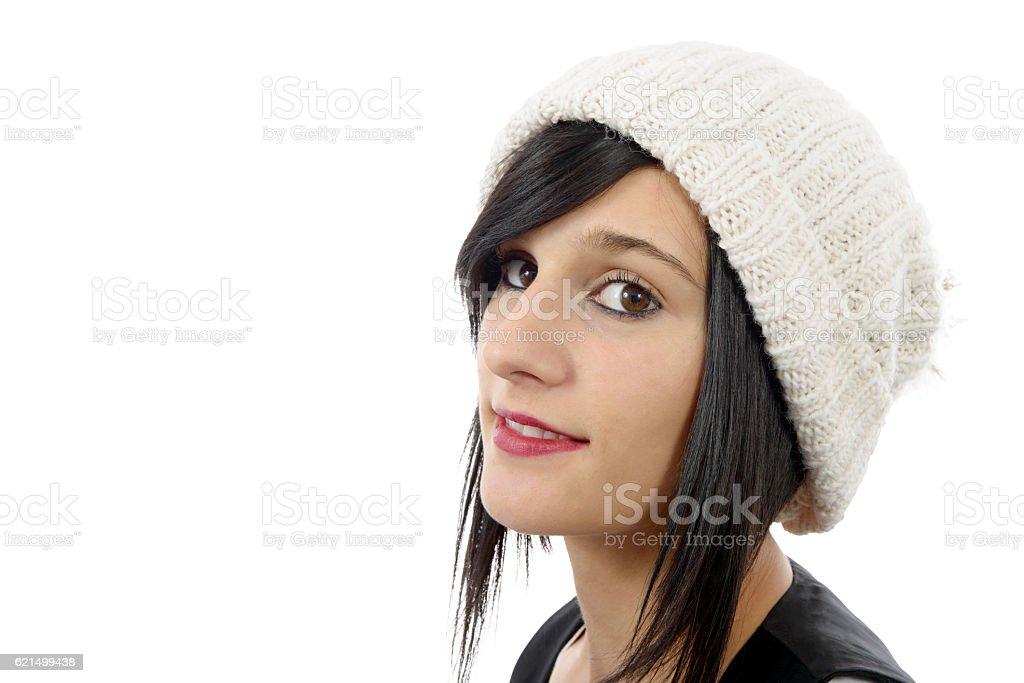 portrait of a pretty young brunette with winter hat, photo libre de droits