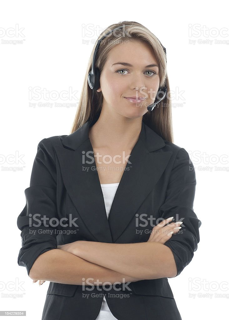 Portrait of a pretty young female call center employee royalty-free stock photo