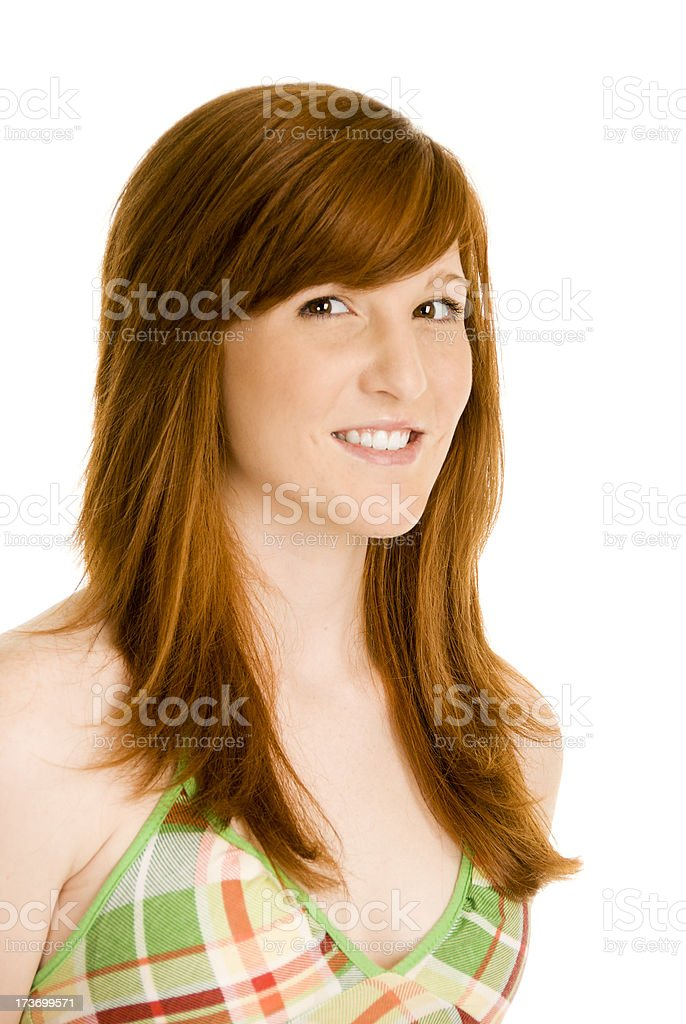 Portrait of a pretty young redhead on white background royalty-free stock photo