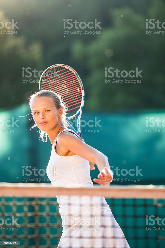 Portrait of a pretty young tennis player royalty-free stock photo