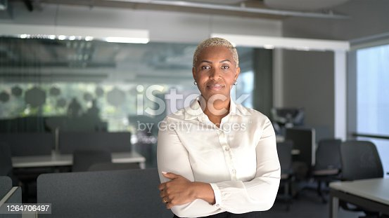 Portrait of a pride businesswoman standing with arms crossed in the office