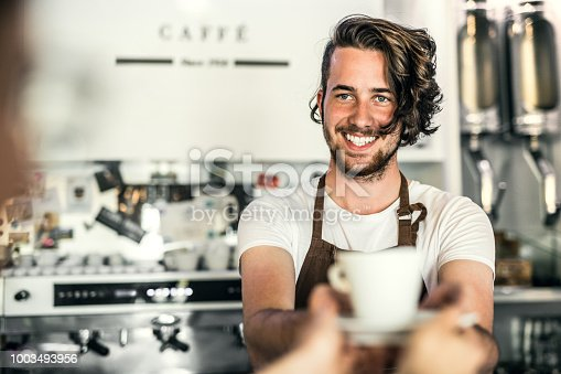 1003493404istockphoto Portrait of a professional barista working in a cafe. Copy space. 1003493956